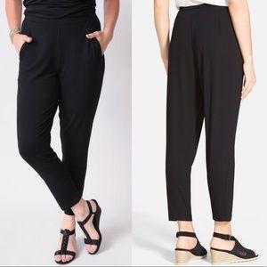 Eileen Fisher slouchy slim jersey knit pants black